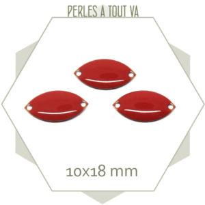 6 navettes émaillées 10x18mm rouge vermillon 2 trous
