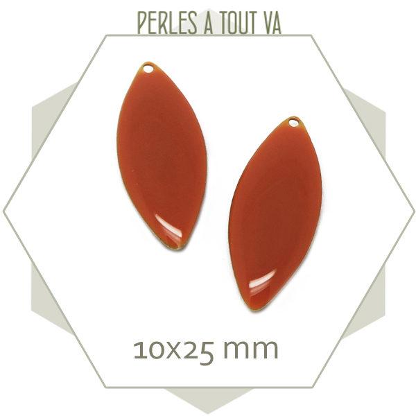 Sequins ovales émaillés orange terre cuite