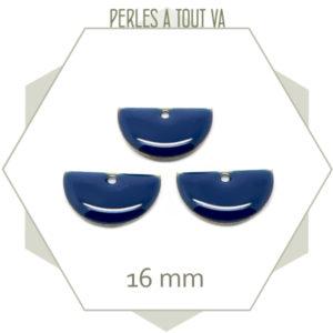 6 sequins émaillés demi cercle 16mm bleu nuit