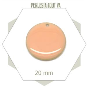 4 sequins émaillés rose nude 20mm ronds, breloques
