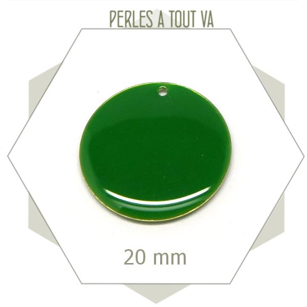 4 sequins émaillés 20mm vert Brésil ronds, breloques émaillées, pendentifs