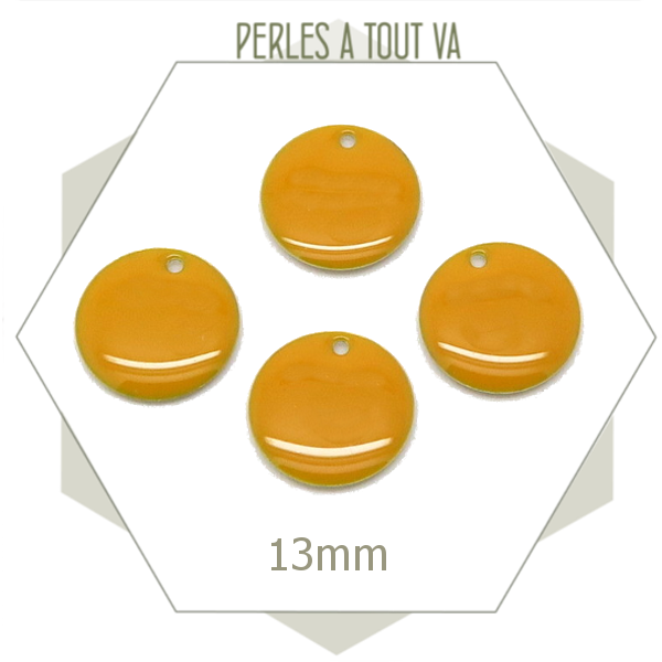 6 sequins émaillés Jaune moutarde 13mm ronds