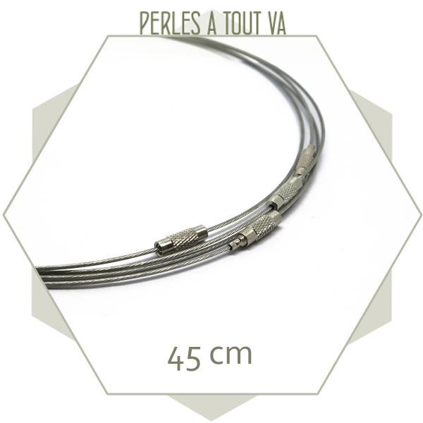 4 tours de cou métal couleur acier, matériel création collier