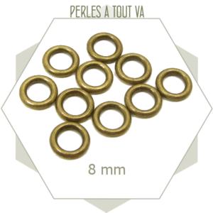 20 anneaux ronds fermés 8 mm bronze
