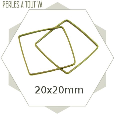 20 anneaux fermés carrés bronze