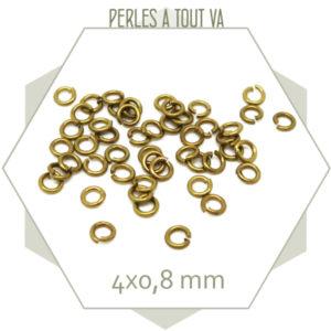 200 anneaux 4x0,8 mm laiton brut