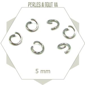 60 anneaux ouverts acier inox 5mm