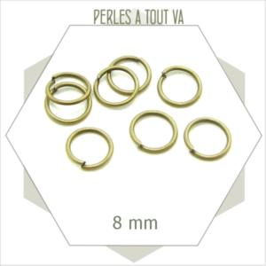 60 anneaux ouverts 8 mm bronze