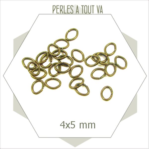 180 anneaux de jonction ovales bronze, anneaux ouverts
