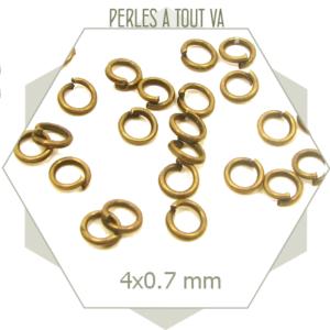 200 anneaux ouverts 4 mm bronze