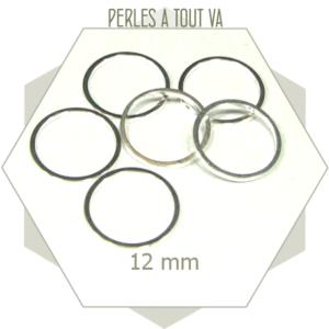 20 anneaux fermés ronds 12 mm couleur argent clair
