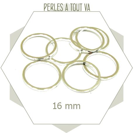 20 anneaux fermés ronds 16 mm couleur argent clair