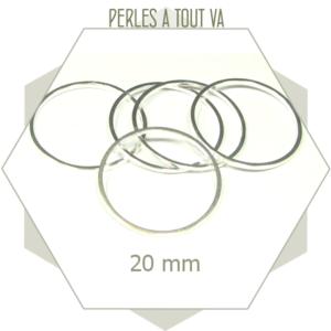 20 anneaux fermés ronds 20 mm couleur argent clair