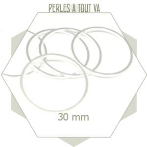 20 anneaux fermés ronds 30 mm couleur argent clair