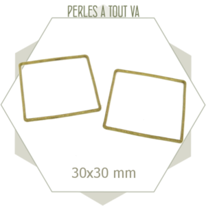 20 Anneaux fermés carrés - 30 mm - laiton brut doré - connecteurs