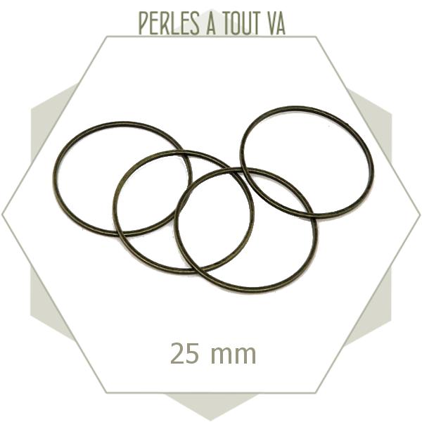 20 anneaux ronds fermés 25mm bronze lisses, connecteurs