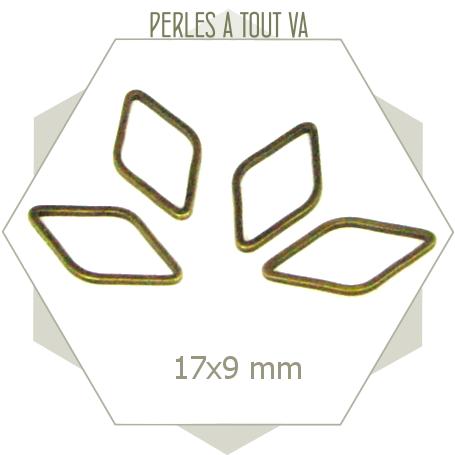 20 anneaux fermés losanges 17x9 mm bronze