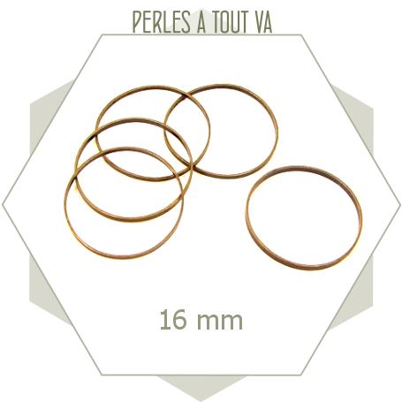 20 anneaux ronds fermés 16mm  bronze - perles à tout-va