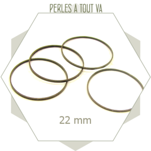20 anneaux ronds fermés 22mm bronze