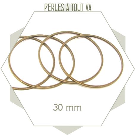 12 anneaux fermés ronds 30mm bronze