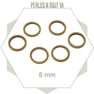 20 anneaux fermés ronds 8mm bronze