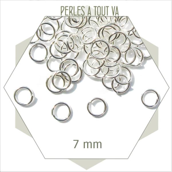 60 anneaux ouverts 7 mm argent