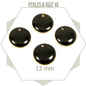 6 sequins émaillés noirs 13mm ronds, cercle émaillé pour créations géométriques
