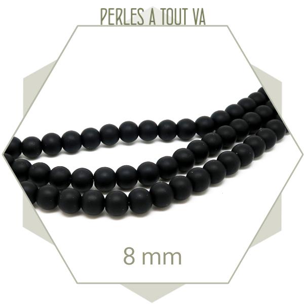 48 perles rondes en pierre noir mat, 8 mm pour bijou
