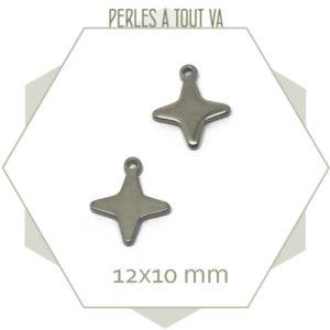 12 breloques étoiles 4 branches en acier 12x10 mm
