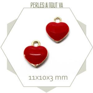 6 breloques coeur rouge, laiton et email