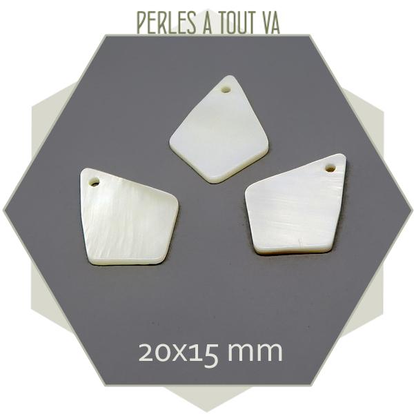 10 pendentifs nacré forme diamant