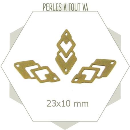 8 connecteurs losanges motif ajouré - bronze
