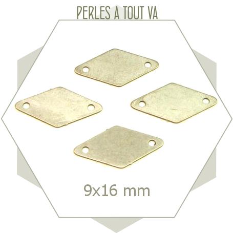 8 connecteurs aux faces lisses en forme de losanges, breloques couleur acier mat