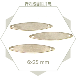 8 connecteurs ovales allongés acier métallisé, matériel pour bijoux fantaisies