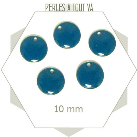 6 sequins émaillés ronds 10 mm bleu canard