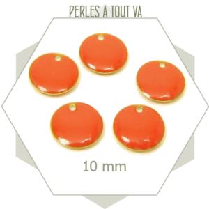 6 sequins émaillés ronds abricot 10mm, breloques rondes, cercles émaillés