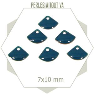 6 sequins éventails émaillés bleu canard, breloque émail