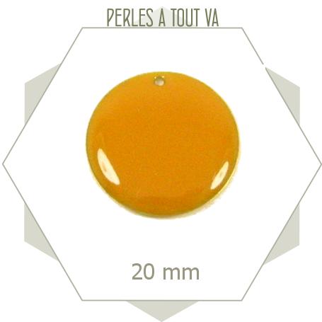 4 sequins émaillés jaune foncé 20mm ronds, matériel pour création d'accessoires vestimentaires