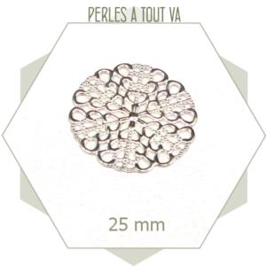 Lot 6 breloques rondes ajourées, estampes rosaces couleur argent
