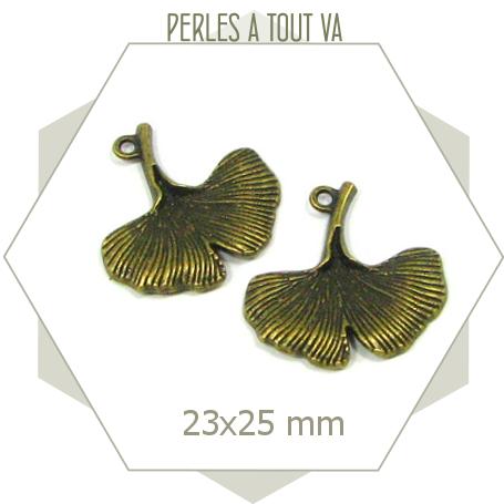 6 breloques feuilles ginkgo couleur bronze, formes nervurées sur les 2 faces