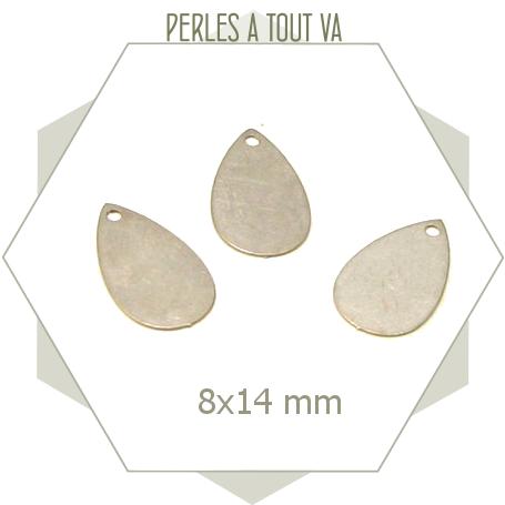 8 breloques forme gouttes lisses couleur acier mat