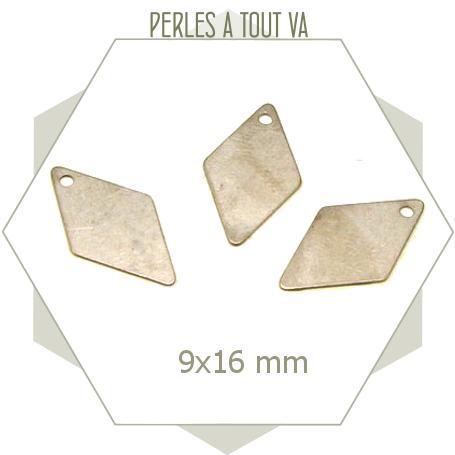 8 sequins en forme de losanges couleur acier mat, pièces à base laiton brut