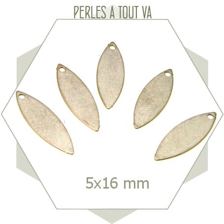 10 breloques ovales couleur acier mat, faces lisses et uniformes