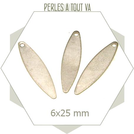 8 breloques oblongues acier mat, matériel pour bijoux personnalisés