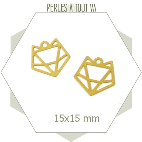 8 breloques renard origami doré mat