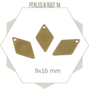 8 breloques losanges bronze, sequins losanges 2 faces lisses