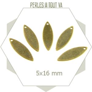 10 breloques ovales lisses couleur bronze pour créations de bijoux fantaisies
