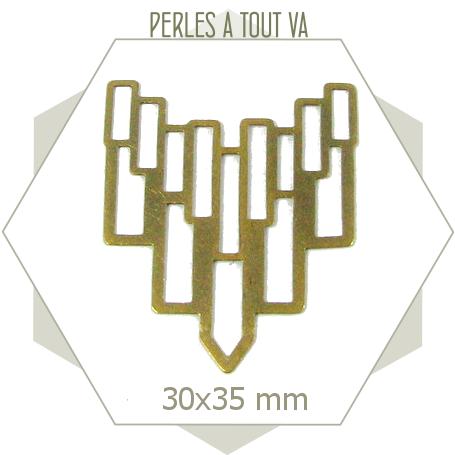 6 connecteurs art déco rectangles plastrons  bronze