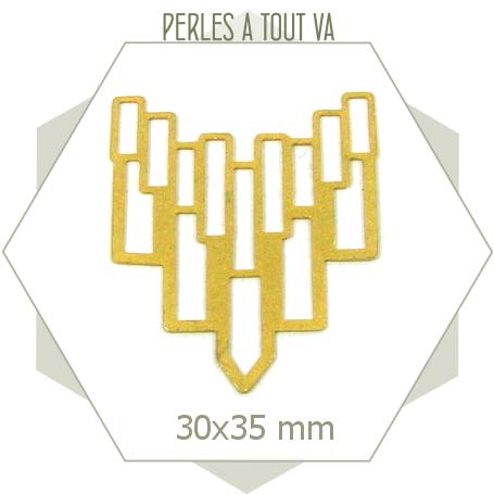 6 connecteurs art déco rectangles plastrons  doré mat