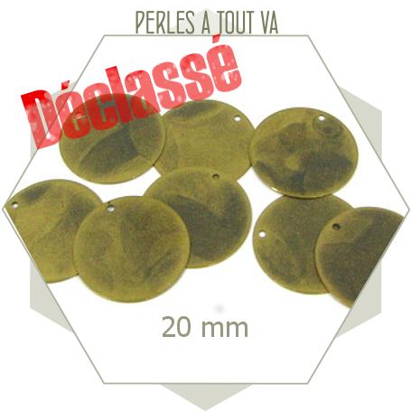 24 breloques cercles lisses bronze déclassés